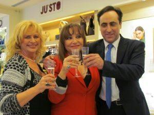 Antonello De Pierro con Adriana Russo e Luciana Frazzetto a presentazione nuova collezione di Contini